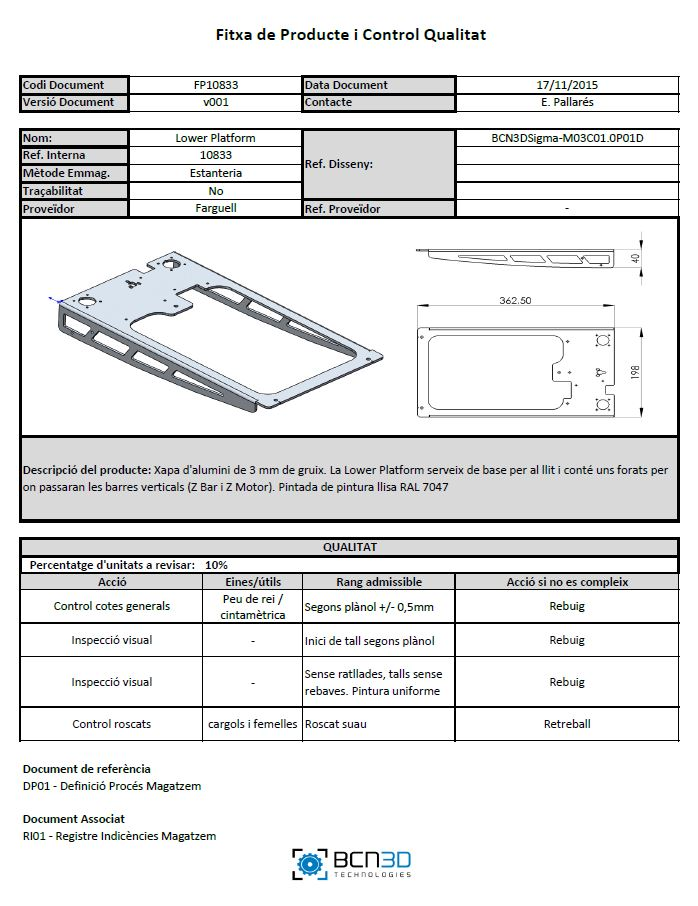 Product Sheet 3d printer