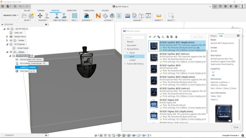 Software de disseny 3D IDEX